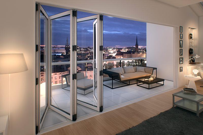 Foldedøre i alu til montering udendørs | Få tilbud her!